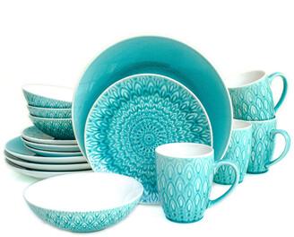 Euro Ceramica Peacock 16Pc Dinnerware Set