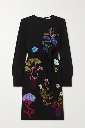 Stella McCartney + Net Sustain Belted Embroidered Cady Midi Dress - Black
