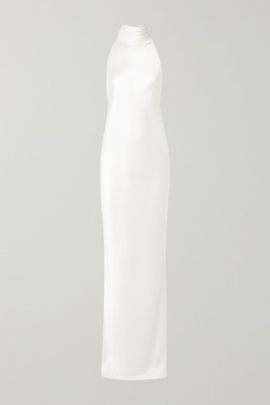 Brandon Maxwell Open-back Silk-charmeuse Halterneck Gown - Ivory