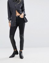 Noisy May Lucy Mid Rise Skinny Jean with Leather Look Panel