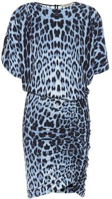 Roberto Cavalli Leopard-print jersey minidress