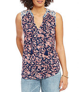 Lucky Brand Sleeveless Mixed Floral Shell Print Knit Top