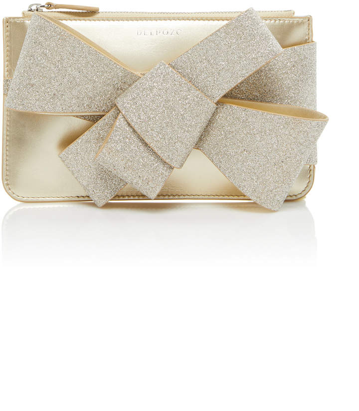 DELPOZO Mini Bow-Detailed Glittered Leather Clutch