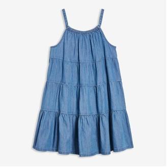 Joe Fresh Kid Girls' Chambray Tier Dress, Indigo (Size XL)