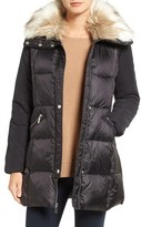 French Connection Women's Mixed Media Jacket With Faux Fur Collar