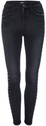 Hudson Jeans Barb High-Rise Studded Skinny Jeans