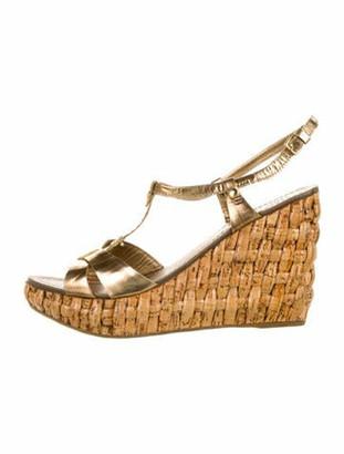 Miu Miu Patent Leather T-Strap Sandals Gold