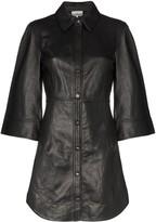 Ganni Leather Button Up Mini Dress