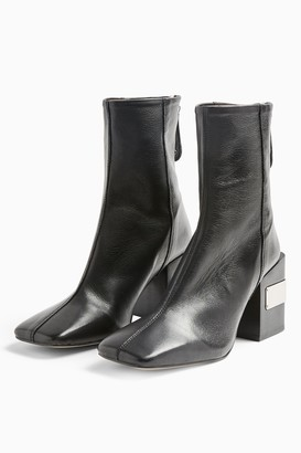 Topshop HARRIS Black Leather Block Boots