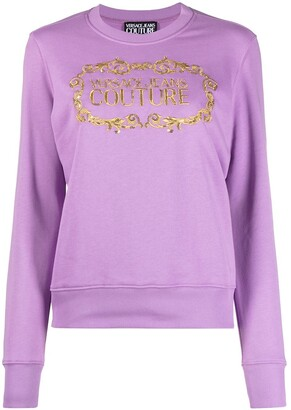 Versace Jeans Couture Logo-Print Sequin-Detailed Sweatshirt