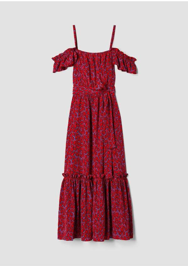 Derek Lam 10 Crosby Off The Shoulder Geometric Leaf Cami Dress With Ruffle Hem