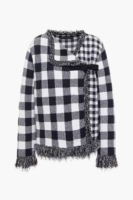 Oscar de la Renta Frayed Gingham Boucle-knit Jacket