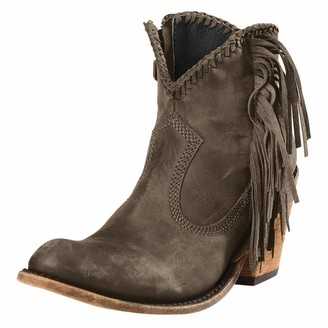 TEELONG Women's Cowboy Boots Retro Round-Toe Faux Leather Riding Boots 2020 Winter Autumn Casual Shoe Low Heel Non-Slip Tassel Ankle Boots (Grey 6 UK)