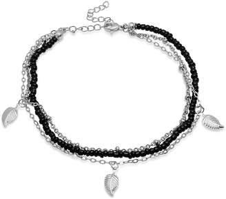 Steel Time Women's Anklets metallic - Stainless Steel & Black Leaf Charm Anklet