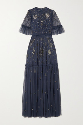 Needle & Thread Jasmine Hemsley Ether Embellished Embroidered Tulle Gown - Indigo