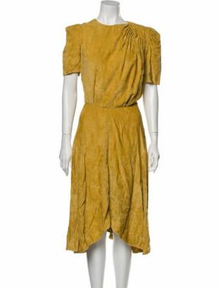 Isabel Marant Crew Neck Midi Length Dress Yellow
