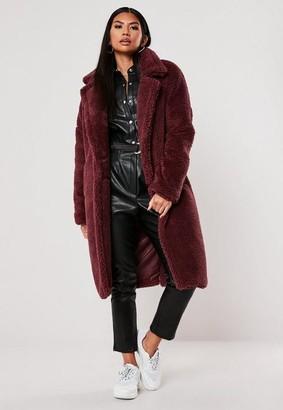 Missguided Wine Borg Teddy Oversized Coat