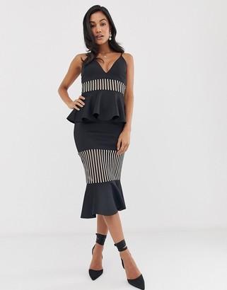 ASOS DESIGN self stripe tiered ruffle detail midi dress