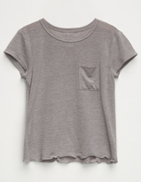Full Tilt Essential Girls Lettuce Hem Pocket Tee