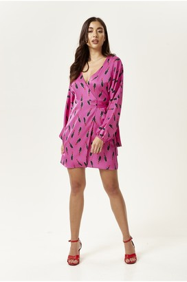 Liquorish Lipstick Print Wrap Mini Dress in Fuchsia with Balloon Sleeves