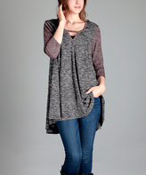 Aster Black & Red Heather Notch-Neck Swing Tunic - Plus - Plus Too