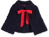 Oscar de la Renta Popcorn-Knit Wool Cape, Navy