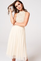 Little Mistress Cece Nude Sequin Midi Dress