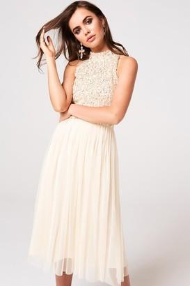 Little Mistress Luxury Cece Nude Hand-Embellished Sequin Midi Dress