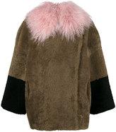 Saks Potts - Colour Block Shearling Coat With Tibetan Lamb Collar