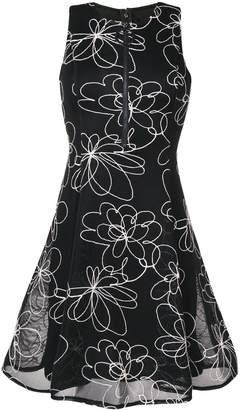 DKNY flower detail flare dress