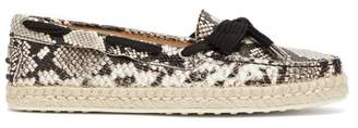 Tod's Python-effect Leather Espadrilles - Womens - White Multi