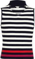 River Island Girls navy stripe sleeveless choker jumper