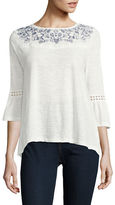 Style And Co. Petite Three-Quarter Sleeve Embroidered Top