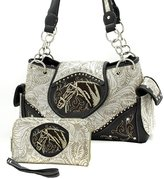 BHW Western Embroidered Horsehead Concealed Purse Wallet Combo Set