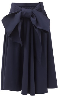 Charles Jeffrey Loverboy Bow-waist Wool-twill Midi Skirt - Navy