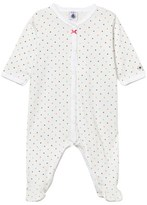 Petit Bateau White and Multi Spot Babygrow with Bow Detail