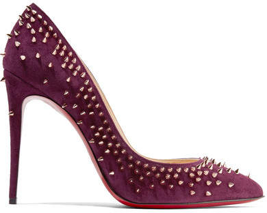 Christian Louboutin Escarpic 100 Spiked Suede Pumps - Plum