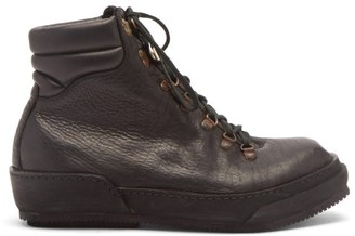 Guidi Grained Leather Hiking Boots - Black