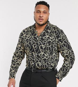 ASOS DESIGN Plus revere collar chain print shirt with deep revere collar