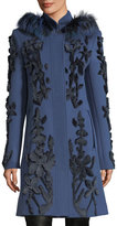 Elie Tahari Julia Fur-Trim Appliqué; Wool Coat