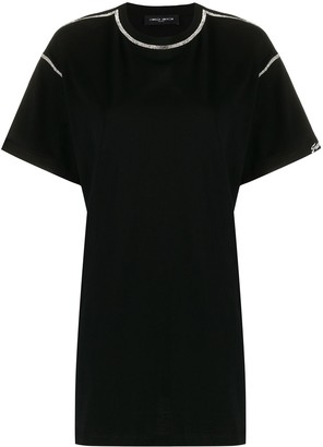 Frankie Morello cut-out crystal-embellished T-shirt