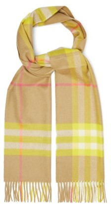 Burberry Checked Cashmere Scarf - Yellow Multi
