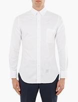 Thom Browne White Distressed Round-Collar Shirt