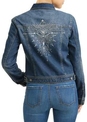 Sofia Jeans By Sofia Vergara Angela Embroidered Evil Eye Denim Jacket Women's (Medium Indigo Wash)
