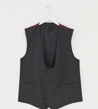 ASOS DESIGN Plus wedding super skinny suit suit vest in charcoal herringbone