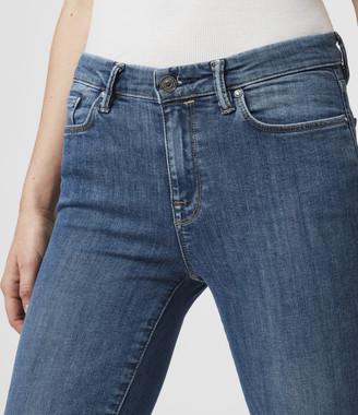 AllSaints Grace Body Shaping Skinny Mid-Rise Jeans, Fresh Blue