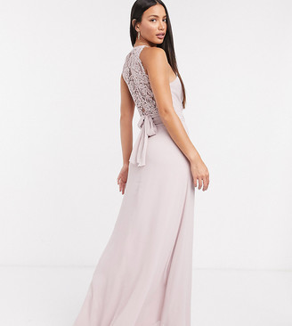 TFNC Tall bridesmaid wrap lace maxi dress in pink