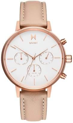 MVMT Nova Luna Rose Gold Leather Watch