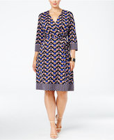 INC International Concepts Plus Size Fit & Flare Faux-Wrap Dress, Only at Macy's