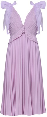 True Decadence Lilac Pleated Midi Dress With Bow Sleeves
